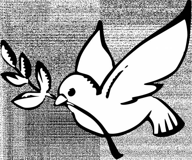 Free coloring and drawings Peace Dove in Black Coloring page