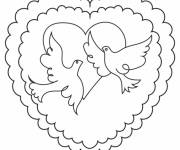 Coloring pages Stylized wedding dove and heart