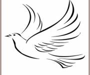 Coloring pages Vector dove silhouette