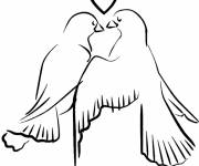 Coloring pages Vector love dove