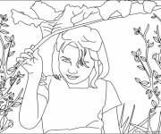 Coloring pages A young girl in the fields