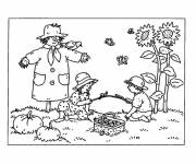 Coloring pages Child in the fields