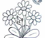 Coloring pages Butterfly and Flowers in Spring