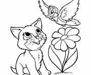 Coloring pages Flower and Animals