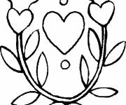 Coloring pages Flower and Heart