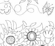 Coloring pages Flower and Sun