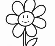 Free coloring and drawings Flower with face Coloring page
