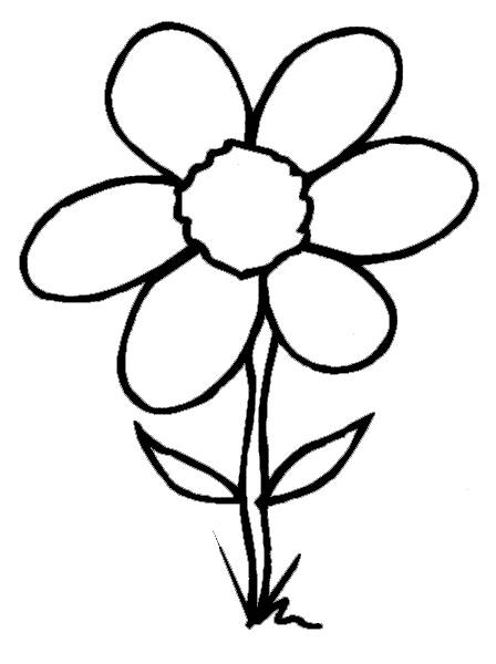 Free coloring and drawings Flower with six petals Coloring page