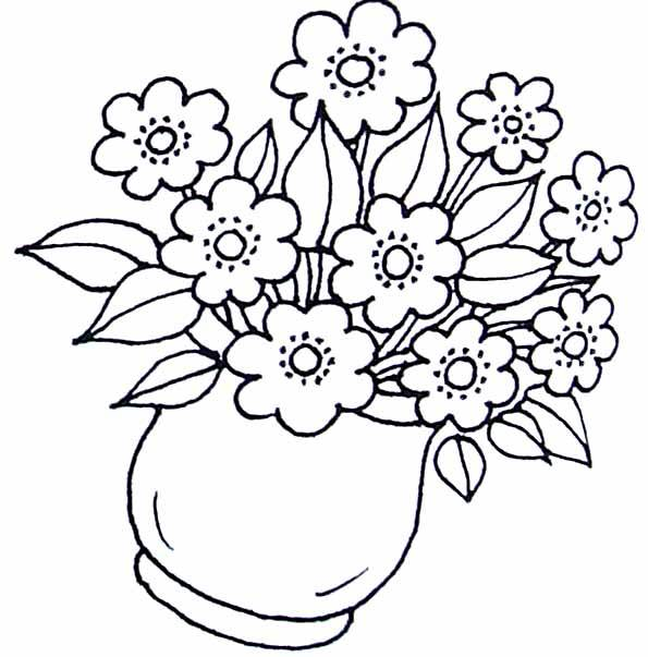 Free coloring and drawings Flowers in the vase Coloring page