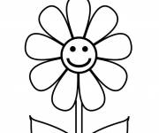 Free coloring and drawings Happy flower Coloring page
