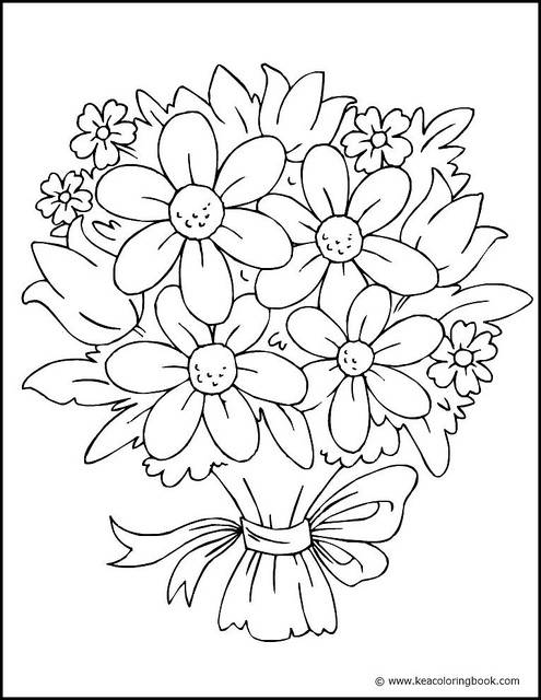 Free coloring and drawings Multicolored flowers Coloring page