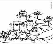 Coloring pages Acrobats frogs