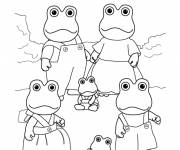 Coloring pages Family Frogs