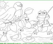 Coloring pages Fishing frog