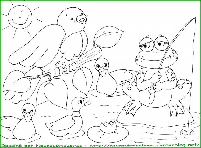 Free coloring and drawings Fishing frog Coloring page
