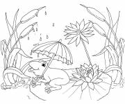 Coloring pages Frog and his umbrella