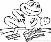 Coloring pages Frog at school