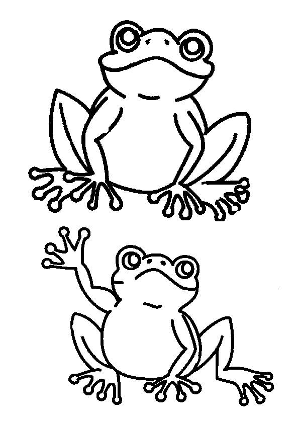 Free coloring and drawings Frog greets you Coloring page