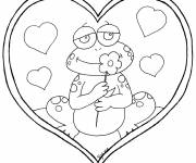 Coloring pages Frog in love