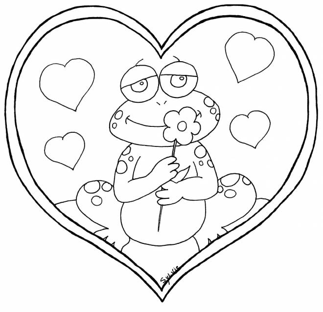 Free coloring and drawings Frog in love Coloring page