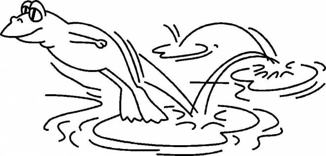 Free coloring and drawings Frog jumps on water lily Coloring page