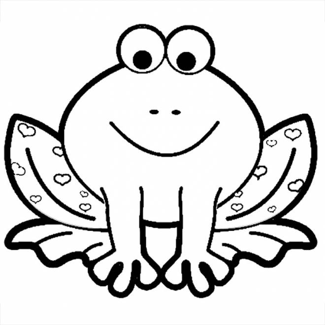 Free coloring and drawings Frog stained in hearts Coloring page