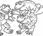 Coloring pages Frogs have fun