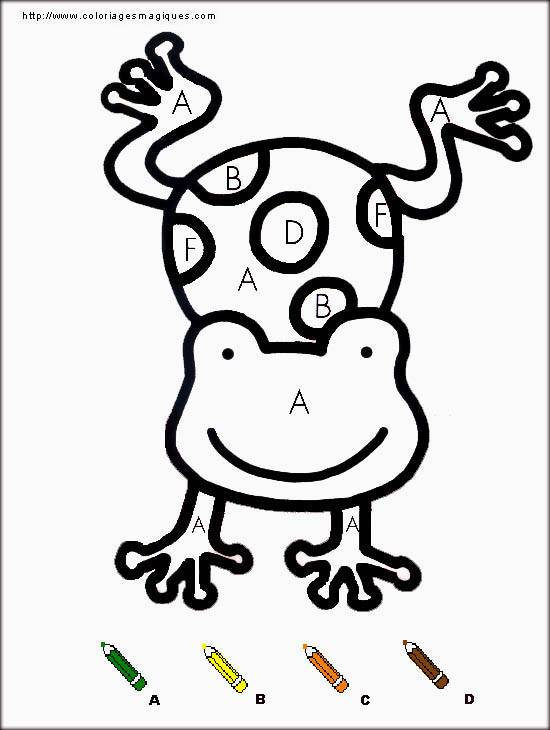 Free coloring and drawings Numbered frog Coloring page