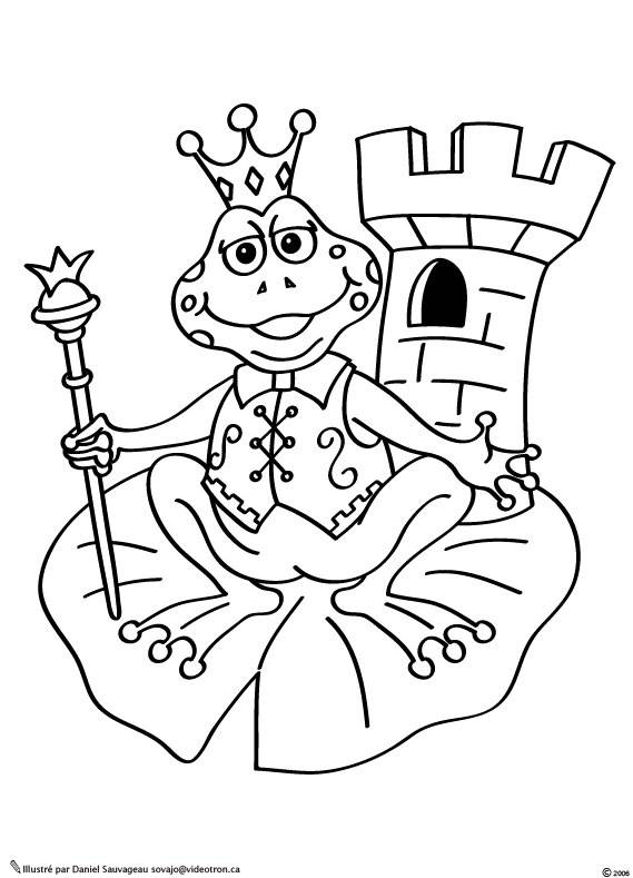 Free coloring and drawings Queen Frog Coloring page