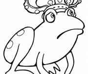 Coloring pages Sad King Frog