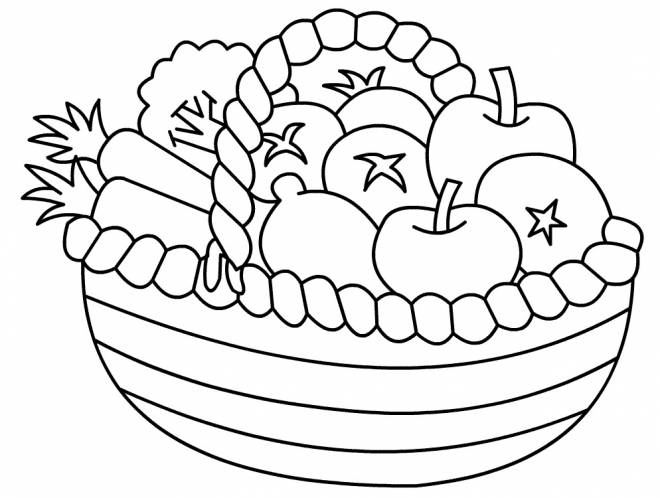 Free coloring and drawings Basket of fruits Coloring page