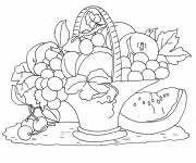 Coloring pages Colored Fruit Basket