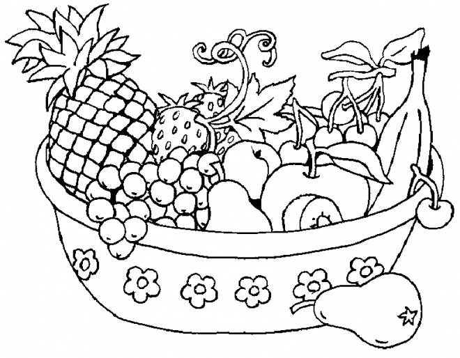 Free coloring and drawings Fruit basket Coloring page