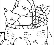 Coloring pages Fruit basket on the table