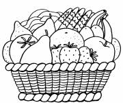 Coloring pages Fruits organized in a basket