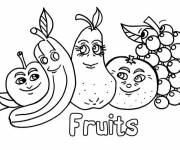 Coloring pages Funny fruit friends