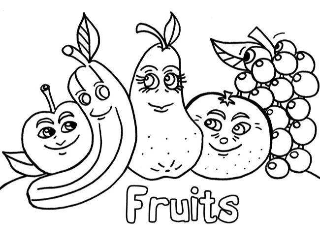 Free coloring and drawings Funny fruit friends Coloring page