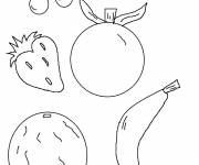 Coloring pages Stylized fruits in color