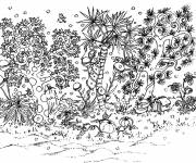 Coloring pages Adult garden in black