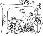 Coloring pages Garden Flowers and Birds