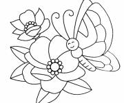 Coloring pages Happy Butterfly on Flower