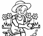 Coloring pages A girl is gardening