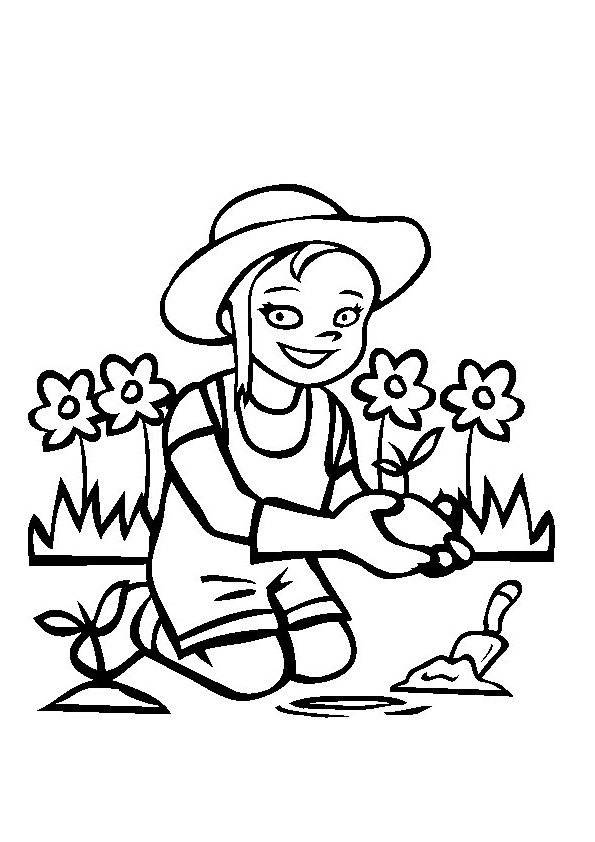 Free coloring and drawings A girl is gardening Coloring page