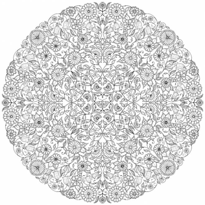 Free coloring and drawings Adult Mandala Garden Coloring page