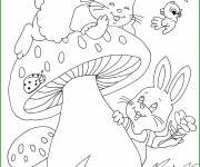 Free coloring and drawings Animals have fun in the Garden Coloring page