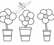 Coloring pages Flowers and Bee