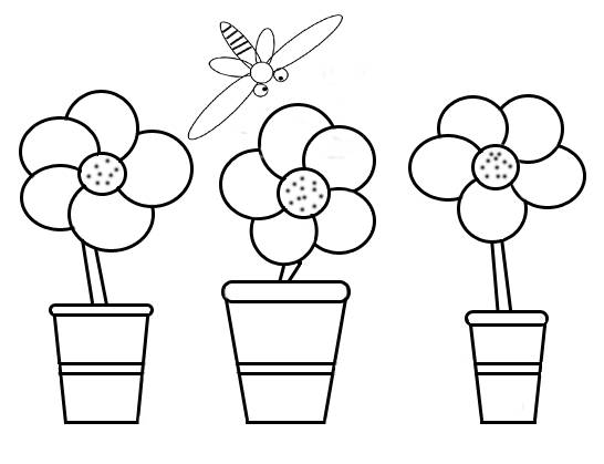Free coloring and drawings Flowers and Bee Coloring page