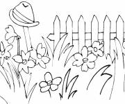 Free coloring and drawings Flowers in the Garden Coloring page