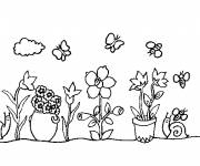 Free coloring and drawings Flowers in the Garden online Coloring page