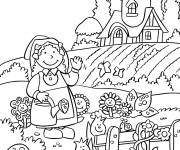 Free coloring and drawings Garden and Farmer Coloring page